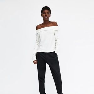 ZARA TOP WITH OFF-THE-SHOULDER NECKLINE